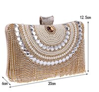 Wholesale prom clutch bags - In Stock Bling Bling Black Blue Beaded Pearls Clutches Double Handle Bridal Hand Bags Evening Party Prom Crystals Special Occasion Bags