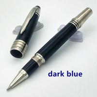 varil hediyeleri toptan satış-En iyi Satılanlar lüks koyu mavi varil Büyük Karakterler Metal Silindir / Tükenmez kalem kalem / dolma Kalem JFK klip hediye ofis için kaynağı