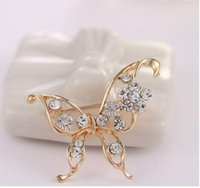 Wholesale Rhinestone Flower Vases - High-grade Pin Brooches Three-dimensional flower vase clear Rhinestone Opal Colorful brooch Corsage clothing X00091
