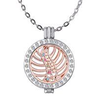 medallón de memoria de oro blanco al por mayor-2016 Corea del estilo MY COIN Rose Gold White K medallón de cristal de 35 mm diamantes de imitación aleación locket medallón de memoria de cristal