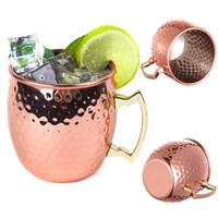 Wholesale Brass Mug - Hammered Moscow Mule Cups Copper Plateing Stainless Steel Mug Brass Handle Hammered Moscow Mule Mug with Solid Brass Handle WX-C52
