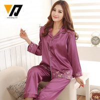 Wholesale Pajamas Top Bottoms - Wholesale- XMWEIPING Women Full Sleeves Silk Pajamas Set Embroidery Sleepwear Female Spring Winter Top and Bottom 3 Colors Causal Home