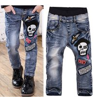 Wholesale Jeans Skulls - 2016 Spring Children Jeans Boys Skull Embroidery Jeans Long Pants Kids Clothes Size 110-150 Free Shipping