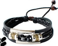 Wholesale Womens Black Leather Wrap Bracelet - Leather Bracelet Mens womens Wrap Multilayer Bracelet & Bangles Jewelry vintage bead Bracelet Black