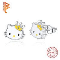 Wholesale Earring Back 925 - BELAWANG Luxury 925 Sterling Silver Yellow Enamel Hello Kitty Push-back Stud Earrings for Women & Girls Christmas Gift Jewelry