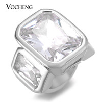 Wholesale Materials For Bracelets - VOCHENG Endless Charms CZ Stone Charms for Lambskin Bracelet Rectangle Interchangeable Jewelry Gold Platinum Plated Brass Material VC-292