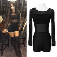 Wholesale Lace Outfits For Women - New Sexy Black Jumpsuit Mesh Lace O Neck Long Sleeve Bodycon Short Rompers Bodysuit Outfits Overalls for Women Macacao Feminino