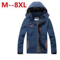 Wholesale 8xl Outdoor Jackets - Fall-8XL 7XL 6XL 5XL Long Sleeve Single Layer Soft Outdoor Jacket Men Waterproof outdoor Jackets Men Jacket
