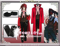 Wholesale Black Butler Grell Sutcliff Cosplay - Japanese Cartoon Anime Black Butler Grell Sutcliff Cosplay Costume Long Coat + Shirt + Vest + Pants + Glove + Arm Belt + Tie + Glasses