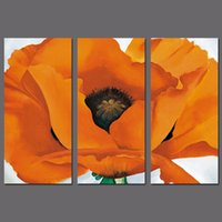Wholesale Set Painting Wall Orange - Modern Fashion 3pcs set orange flower decoration colorful wall art picture flowers Canvas Painting for living room unframed