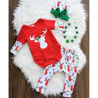 Wholesale Baby Girl Stocking Hats - Christmas Baby Outfits Infants Autumn winter Reindeer Red Romper + Pant with Bow Hat 3pcs set 100%cotton 2017 New In stock