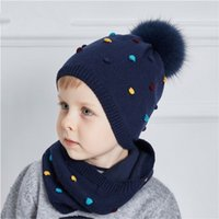 Wholesale Cotton Knit Scarves - LUCKYFUR Children Hat And Scarf Set Cotton Knitted Winter Hats Real Fox Fur Pompom Ears Caps Dot Boy Cap Girl Thick Warm Beanies