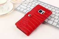 Wholesale Aligator Crocodile - 100pcs Fashion Crocodile Aligator Snake Leather Wallet Phone Case for Samsung galaxy s7 G9300 Stand Holster Holder Skin Case