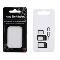 mais pinos venda por atacado-NOOSY 4 Em 1 Nano Micro Sim Conversor de Conversão de Cartão Sim Nano Sim Card Adapter Para Iphone 4s 5S 6 e mais com Eject Pin chave