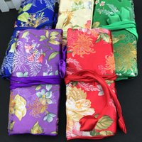 Wholesale Chinese Silk Jewelry Roll - Flower Chinese Silk Brocade Cosmetic Jewelry Travel Roll Up Bag 3 Zipper Pouch Drawstring Women Makeup Storage Bag