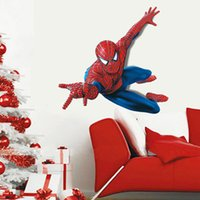 Wholesale Hero Wall Poster - 60*90cm Spiderman Removable Wall Stickers Wallpaper for Kids Rooms Creative 3D Art Wall Decals poster Superman Super Hero Home Decor