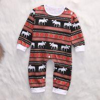 Wholesale Snowflake Stripe - Christmas rompers winters for infants Autumn Deer Stripe Infant Jumpsuit Cute Snowflake Printed Long Sleeve Toddler Bodysuit C2242