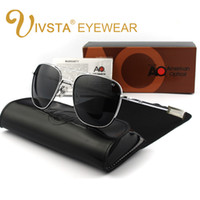 Wholesale American Pilots - IVSTA Fashion Sunglasses Men American Army Military Brand Designer AO Sun Glasses For Male Glass Lens with Original Box E045