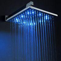 "Wholesale Head Bath Big - Big Size 8"" 10"" 12"" inch RGB LED Copper Rainfall Shower Head Bath Shower Faucets Accessories Single Wall Mounted Showerhead"
