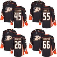 новые черные хоккейные майки оптовых-2017 Новый бренд Mens Anaheim Ducks 26 Brandon Montour 45 Sami Vatanen 55 Jeff Schultz 66 Thompson Black Ice Hockey Jerseys Accept Custom