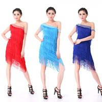 Wholesale Latin Ballroom Dresses For Competition - Wholesale-Women Latin Salsa Ballroom Competition Dance Dress Adult Tassels Latin Dress New For