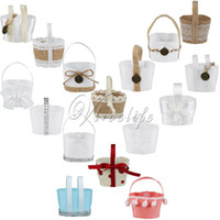 Wholesale Bamboo Flower Basket - Wholesale- Wedding Candy Basket Candy Boxes Hanging Flower Basket Wedding Favor Pouch Bags Kids Birthday Candy Bags Gifts Decor