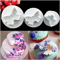 Wholesale Decorator Plunger Cutters - Wholesale- 3Pcs Set Butterfly Fondant Cake Sugarcraft Plunger Cutters Mold Christmas Cake Decorating Tools F0666