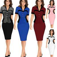 Wholesale Plus Size Womens Summer Wear - Plus Size Womens Summer Short Sleeve Pencil Bodycon Dresses 2016 OL Work Wear Dresses For Special Occasion Formal Party Dresses