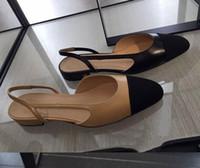 schuhe schlinge zurück großhandel-U530 40 schwarz / beige echtes Leder Riemen zurück abgestimmt flache Schuhe Sandalen