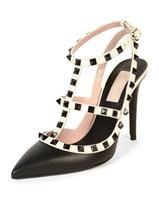 sandalias marrones de fondo grueso al por mayor-hecho a medida * alta calidad! u569 34/40 remaches puntiagudos de cuero genuino tacones sandalias v bombas diseñador de lujo 7.5 zapatos de moda de 10 cm