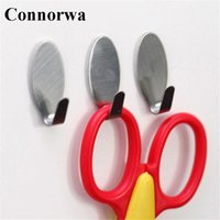 Vente en gros - Connorwa Hot Sell 6X round Adhesive Kitchen Wall Door Stainless Steel Stick Hook Hanger