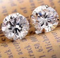 Wholesale Earrings For Pierced Ears - Fashion Noble Jewelry Crystal Rhinestone Silver Plated Stud Earrings Piercing Ear Studs For Weddings Party