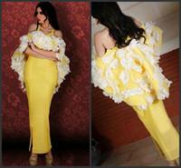 ingrosso abiti da sposa in stile giallo sirena-2016 nuovo stile giallo 3d floreale arabo vestito da promenade del partito sirena off spalla caviglia spacco abito da sera saudita araba