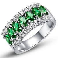 anillos de compromiso de zafiro vintage al por mayor-Verde esmeralda anillo de zafiro 925 plata esterlina lleno de boda Vintage CZ anillo partido anillos de compromiso para hombres y mujeres