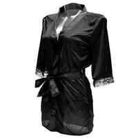 Wholesale Lingerie Babydoll Silk - Wholesale-Women Sexy Nightgown Women's Lingerie Sleepwear Silk Lace Lady Sleepdress Babydoll Nightdress Sleepshirts Homewear 4 Colors