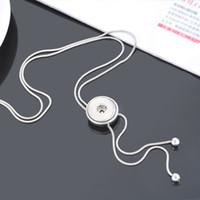 kayan kolye toptan satış-Sıcak satış DJ0037 Güzellik Moda slayt 4 çeşit zencefil çırpıda kolye 63 CM fit DIY 18 MM zencefil yapış düğmeler Aksesuarları charm takı