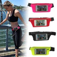 Wholesale Mobile Phone Belt Holders - Waterproof Sport Running Bag Screen Touch Running Belt Pouch Mobile Phone Holder For iPhone Samsung Sony Waist Bag Women Man