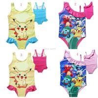 Wholesale Pikachu Costume Kids - Baby Girls Swimwear poke Swimsuit Costume pikachu kids Triangle vest one-piece Swimsuit Beach Bikini DHL C1523