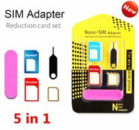 Wholesale New Slim Cell Phones - New Aluminum Metal SIM Card Adapter Nano Slim Card to Micro Adapter Converter Eject Pin Set 5 in 1 for iphone 6s 5s all cell phone Devices