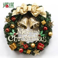 Wholesale Christmas Door Bells Decorations - Jingle Bell Christmas Decoration Wall Door Mounted Home Party Ornaments PVC Material Durable Old Christmas Wreath Garland Flowers 40 50CM