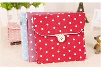 Wholesale Selling Eco Bags - Hot Sell 5 Colors Brief Cotton Full Dots Sanitary Napkin Bags Cute Sanitary Towel Storage Bag Menstrual Pads