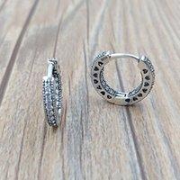 ingrosso orecchino europeo del cerchio-Autentici orecchini in argento sterling 925 con cuori di orecchini a cerchio Pandora adatti per gioielli con borchie stile Pandora europeo 296317CZ