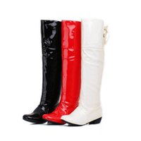 Wholesale White Boot Wedding Lower Heel - Boots Patent Leather White red wedding shoes plus size 42 43 44 45 46 small yards 31 32 33 high heel 3.5CM Thick heel EUR 30-47