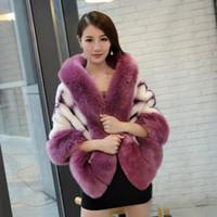 Wholesale Collar Mink Shawl - Wholesale-2016 New Fashion Faux mink Fur Poncho with fake fox fur collar trim Women Hot Selling imitation Fur capes wraps warmer shawls