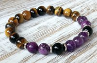 Wholesale Mens Amethyst - SN1048 Mens Healing Crystals Sobriety Recovery Bracelet Amethyst Tiger Eye Black Agate Bracelet Power Bracelet Free Shipping