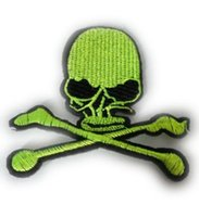 Fluorescent GREEN SKULL SEW ON IRON ON PATCH BADGE APPLIQUE TRANSFERT gros Dropship Cheap