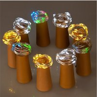 Wholesale valentine craft wholesale - 2m 20-LED Copper Wire String Light with Bottle Stopper for Glass Craft Bottle Fairy Valentines Wedding Decoration Lamp Party