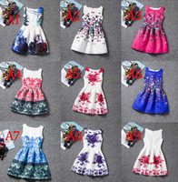 Wholesale Teen Girls Short Formal Dresses - 20design Girls formal dresses Teens designer Print flower Butterfly sleeveless dress easter holiday girl costume dress