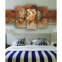 Wholesale Modern Figure Sexy Abstract - 5 Panel Painting Bedroom Pictures Hand Painted Canvas Oil Paintings Sexy Nude Couple Knife Painting Modern Home Decor Wall Art
