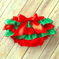 Wholesale Girl Panties Boy Shorts - Wholesale Christmas Baby Bloomer Red Girls Boys Panties Briefs Infant Toddle Ruffle Bloomer Newborn Diaper Cover for baby